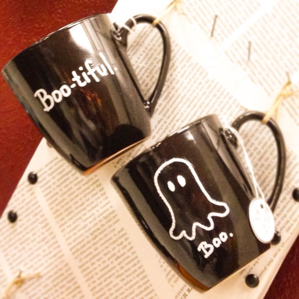 Hand painted on repurposed mugs. Sold out in stores.
