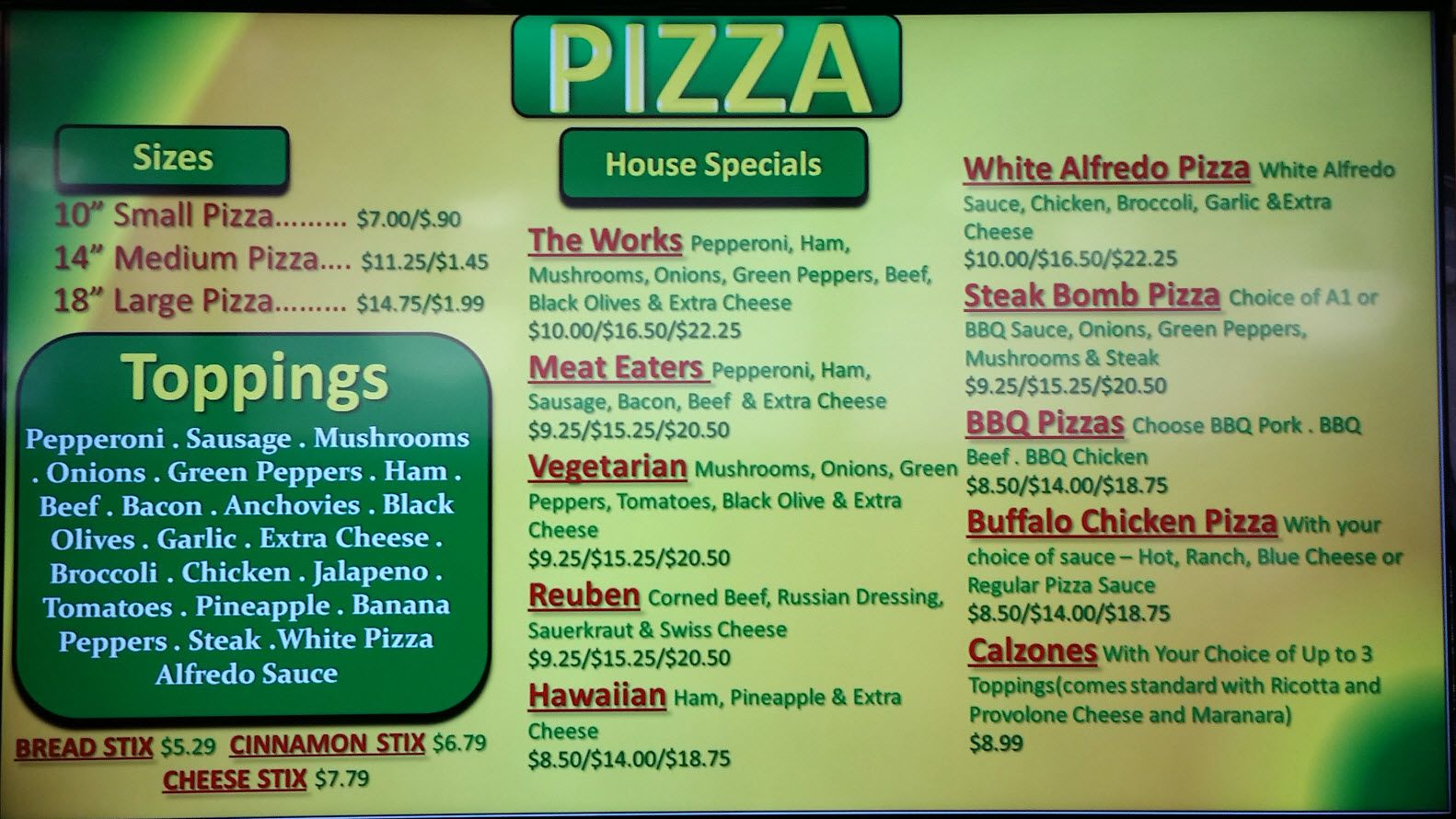 Delivery menu with images delivery menu small pizza