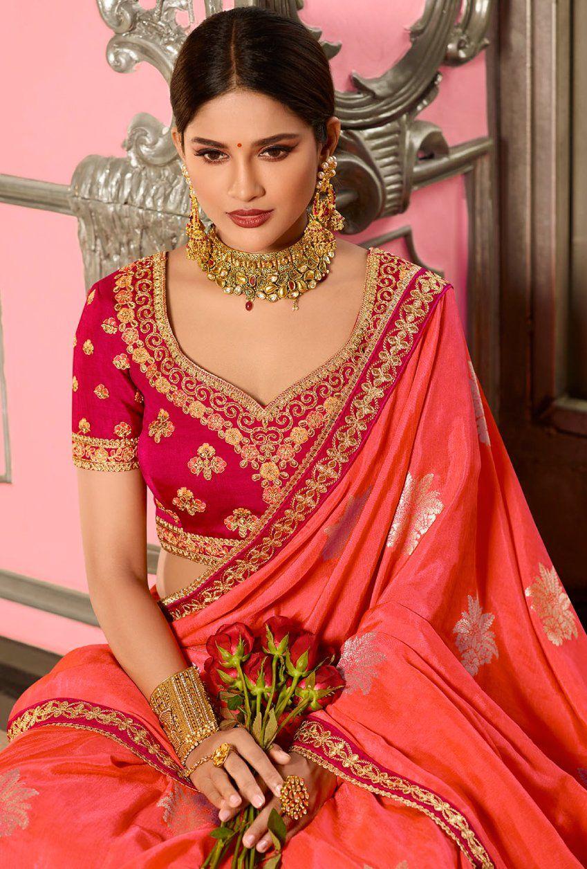 Peach Designer Saree Indian wedding outfits, Bridal