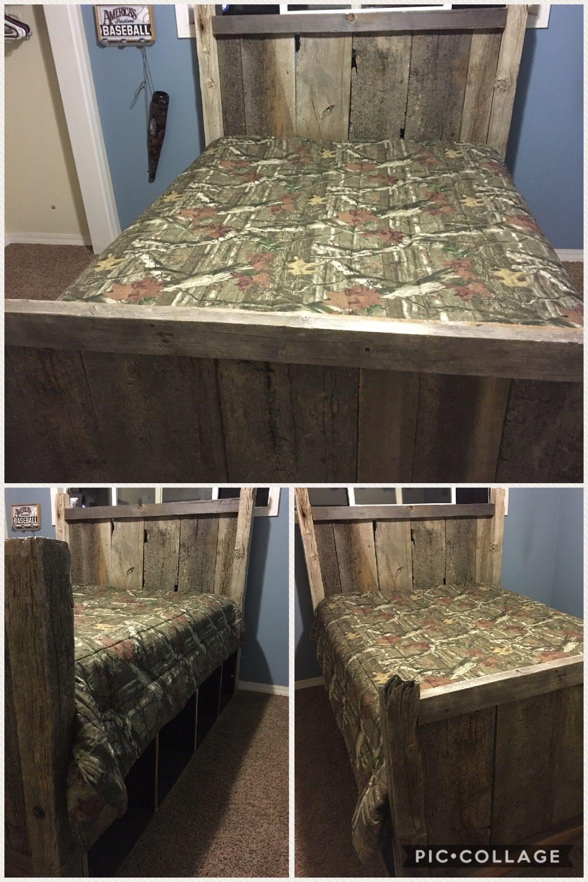 DIY Rustic Barn Wood Bed Queen with Stroage Barnwood