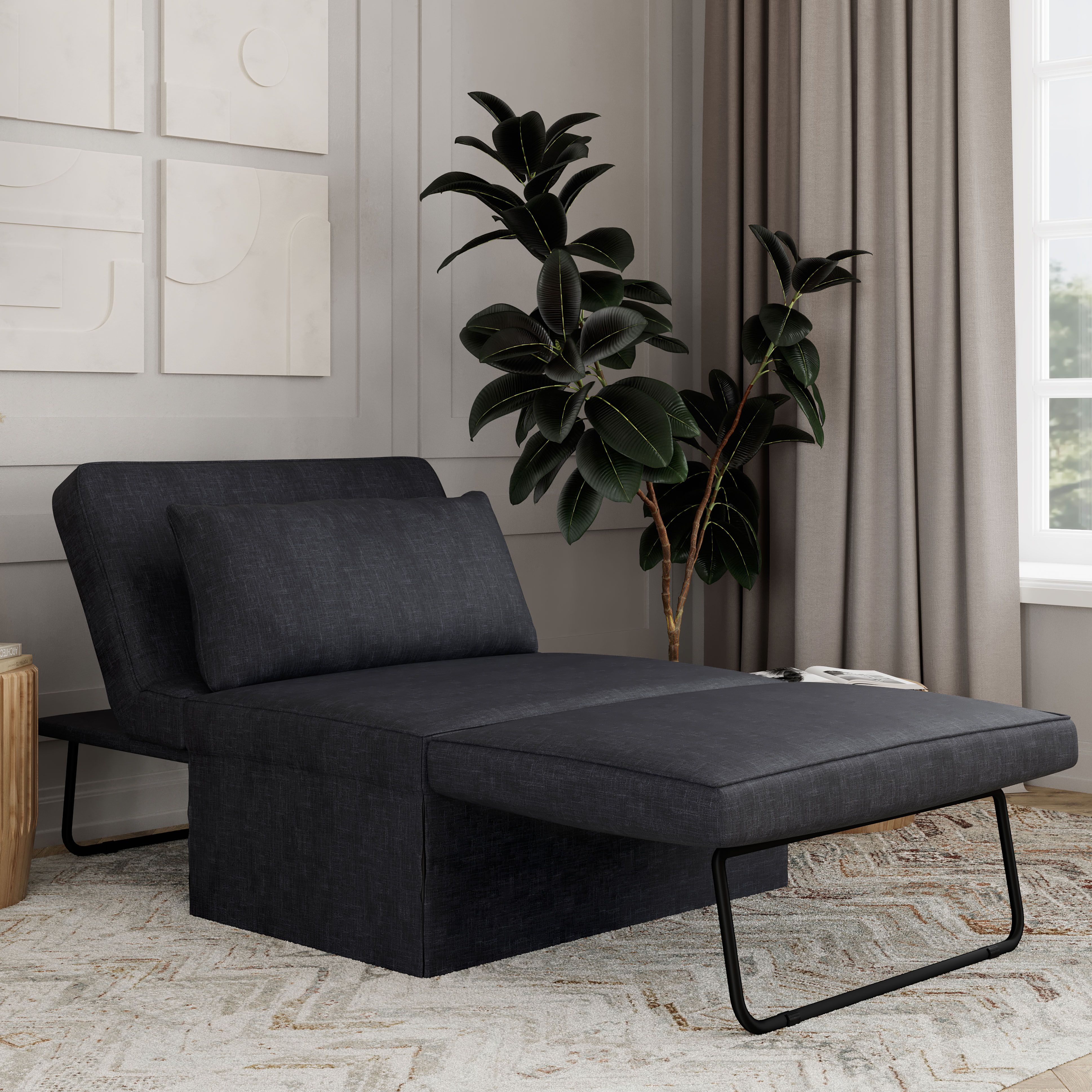 Relax A Lounger Metro Otto Kube Multi Positional Ottoman Chaise Lounger Sleeper Charcoal Walmart Com In 2021 Chaise Lounger Sleeper Ottoman Queen Size Sofa Bed