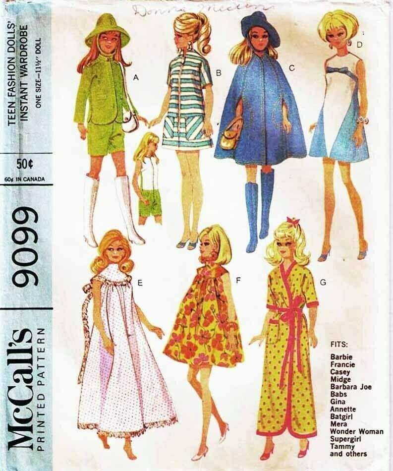 Barbie Doll Skipper Sewing Pattern Vintage McCall/'s 7841 Knitting Coat Dress Hat