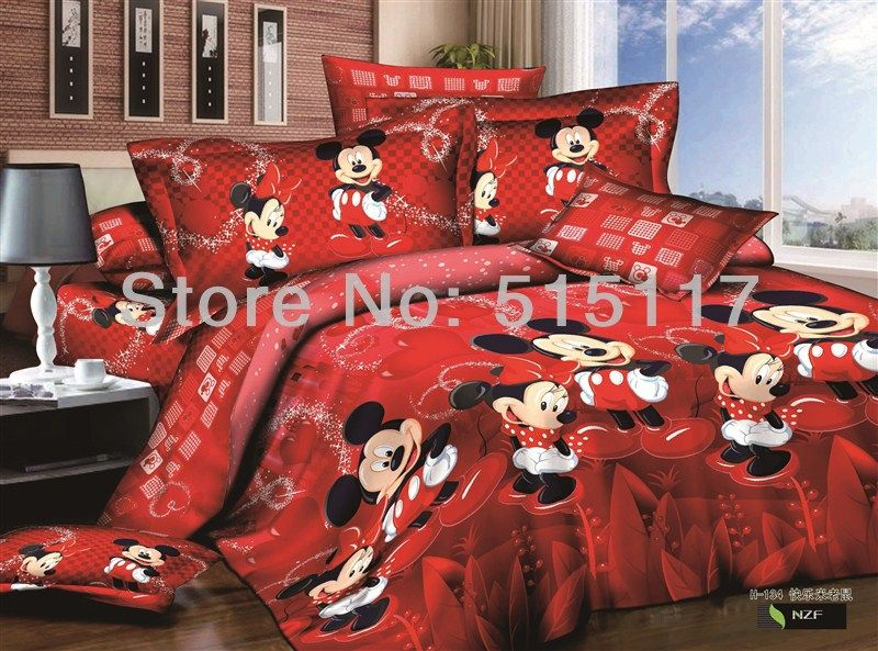 Mickey Mouse print bedding set 4pc bedclothes 100%Cotton 800TC/Comforter/Quilt Cover bed linen sets double king queen size& $98.00
