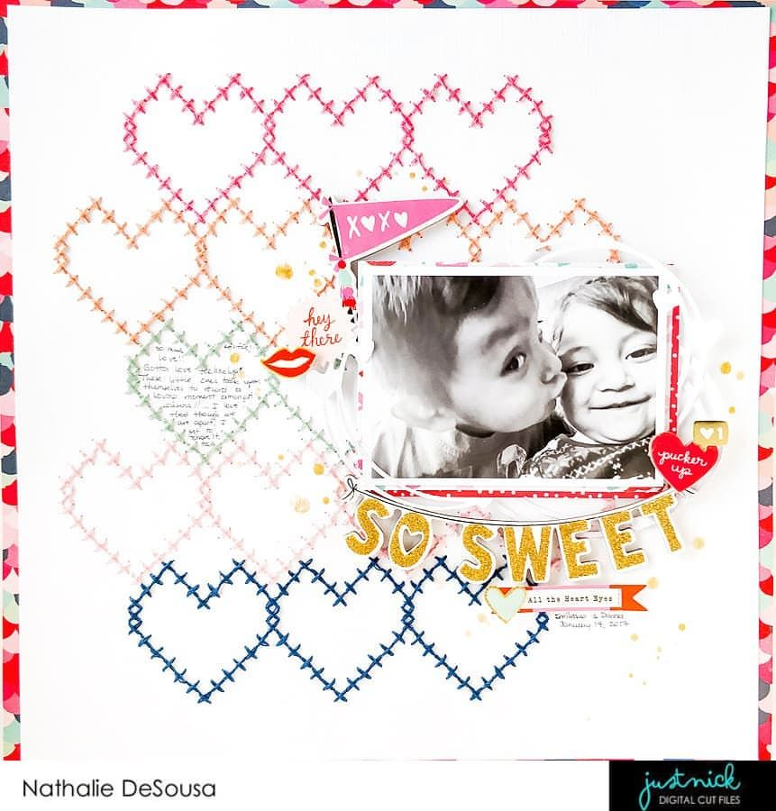 Love this heart scrapbook layout!
