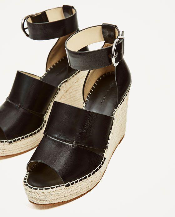 Zdjecie 4 Buty Na Koturnie Z Jutowej Plecionki Z Paskiem Wokol Kostki Z Zara Ankle Strap Shoes Zara