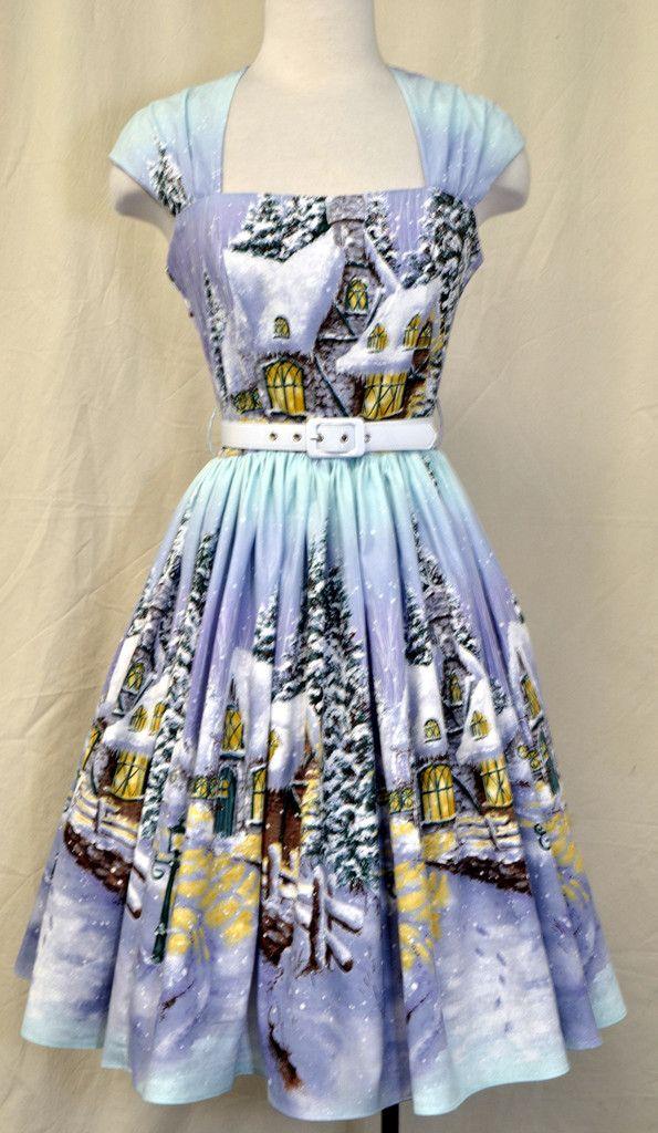 a0bb6e6dc6 Veronique in Winter Wonderland print  1950s-pin-up  50s-dresses  50s-pin-up   bernie-dexter  burlesque  dress  halter-dress  inspired-dress   online-vintage ...