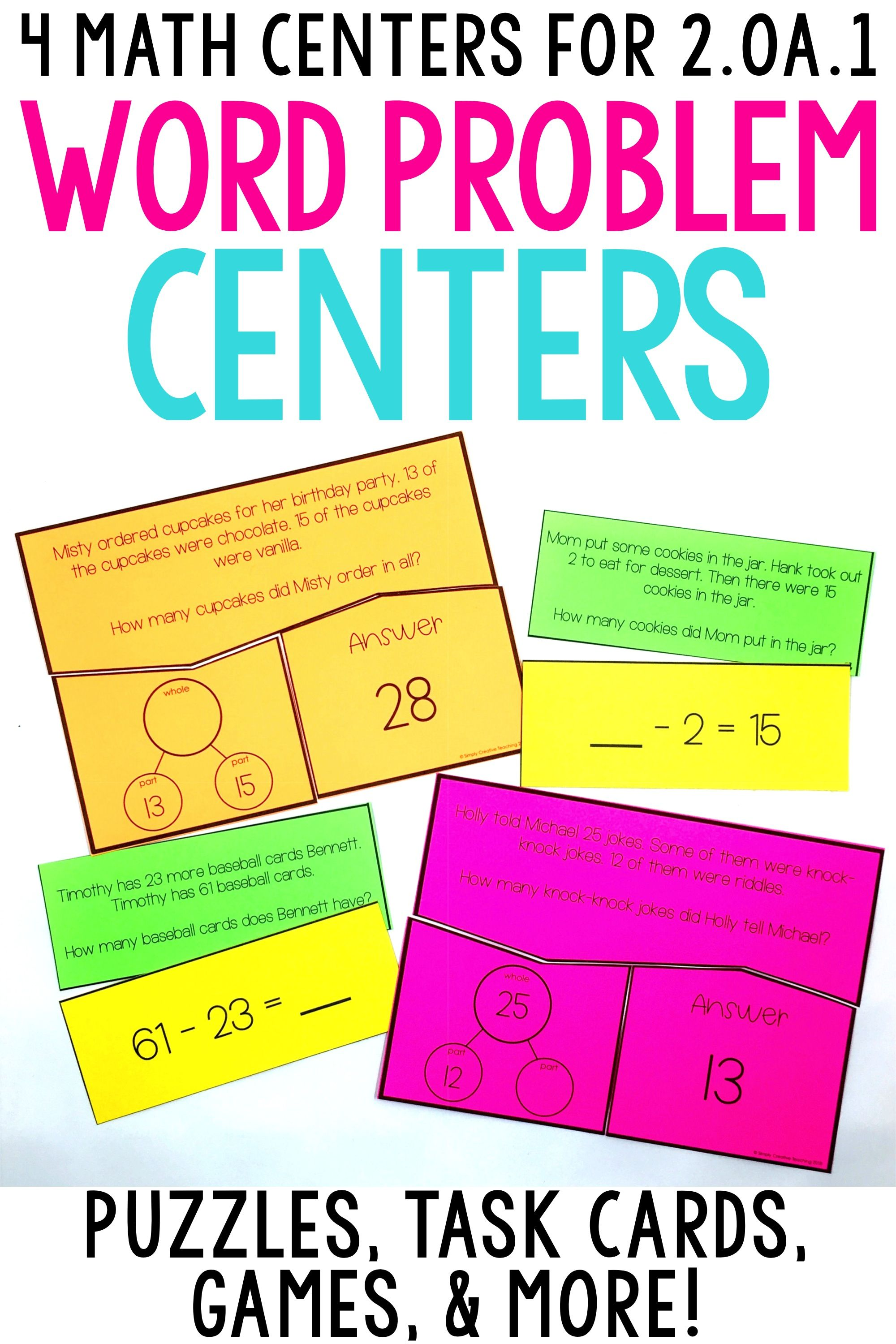 2nd Grade Word Problem Math Centers For 2 Oa 1