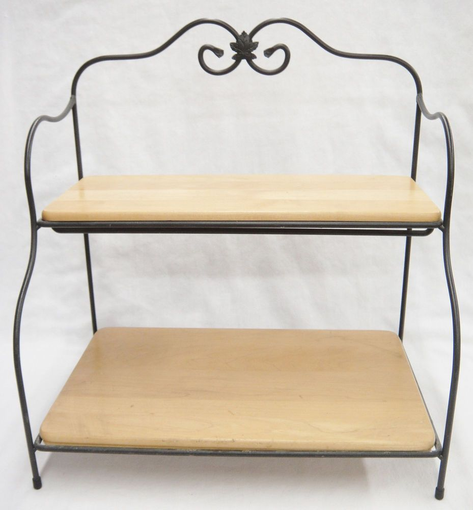Longaberger 2 Tier Shelf With Wrought Iron Stand Wood Shelves