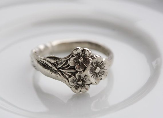 Love this!!!! Vintage Sterling Silver Spoon Ring- Harlequin Series: Forget Me Not (Small Bouquet) 1958 on Etsy, $84.00