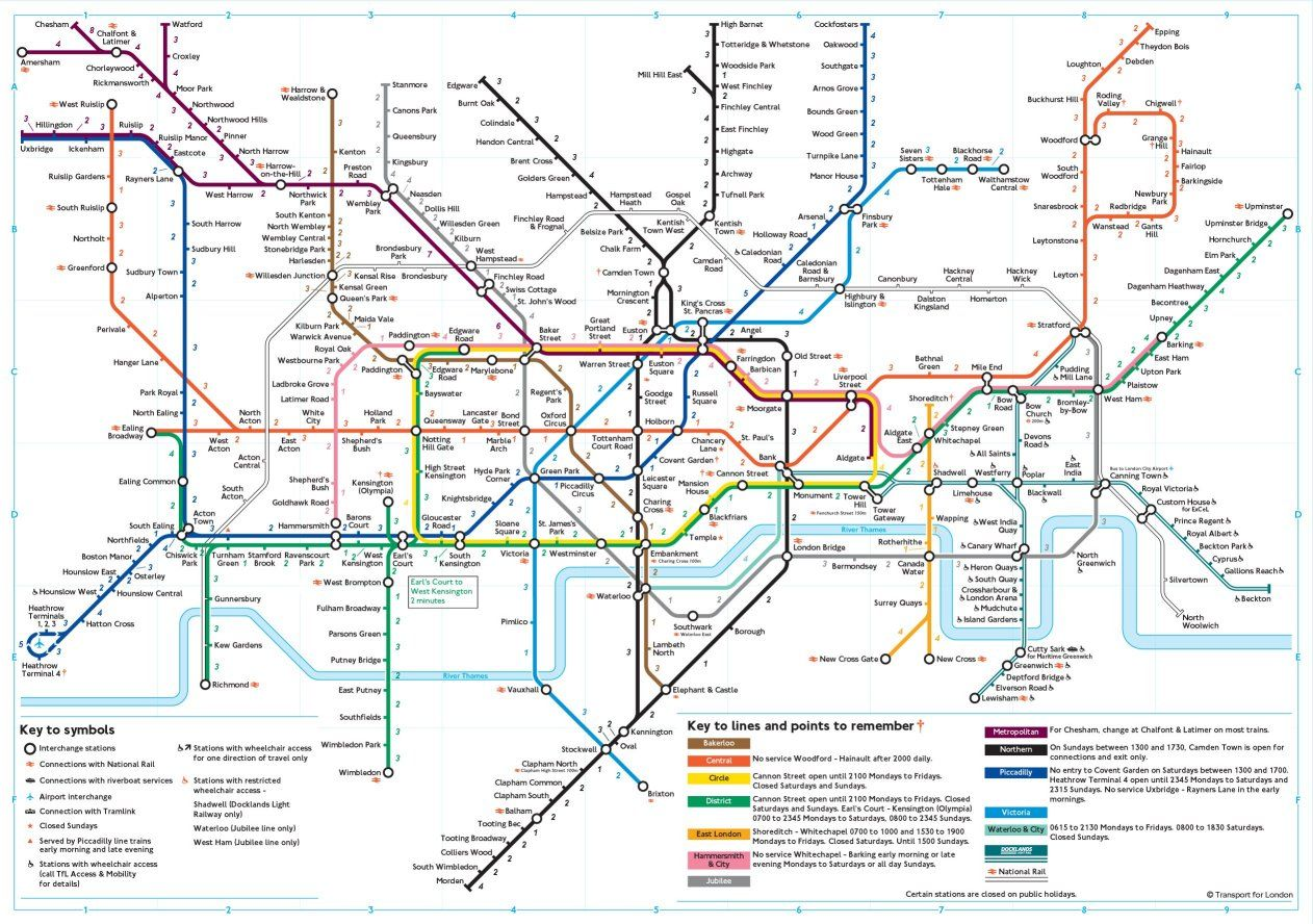 london tube map travel times between stations