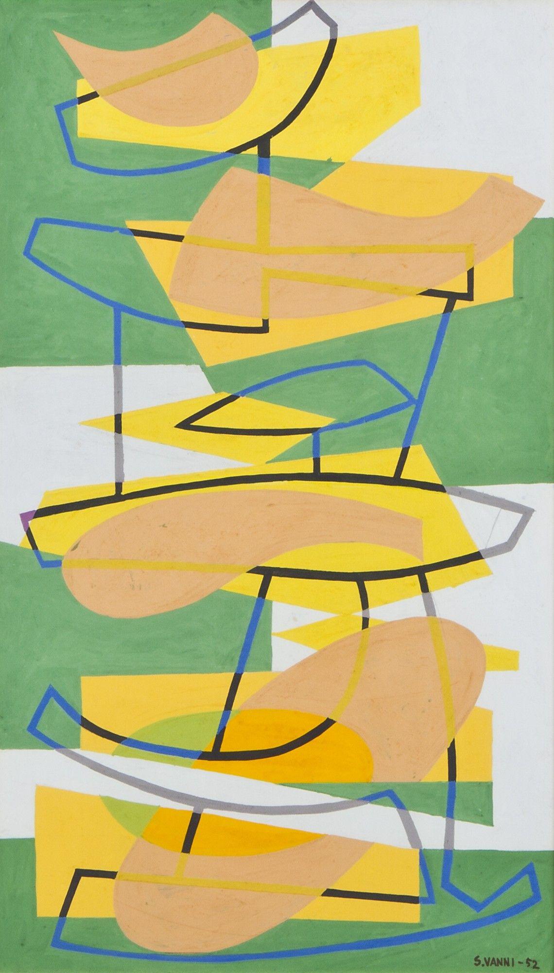Sam Vanni: Abstrakti, 1952, guassi, 44x26 cm - Hagelstam A135