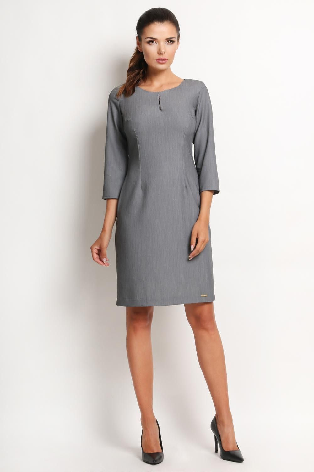 93a5f76265713 Grey Awama Dresses   Products   Midi dress with sleeves, Dresses ...