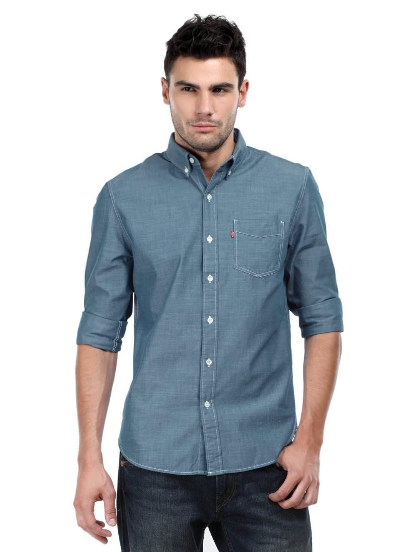 Levis Men Dark Chambray Classic One Pocket Shirt | Rare shirt that I like  with white