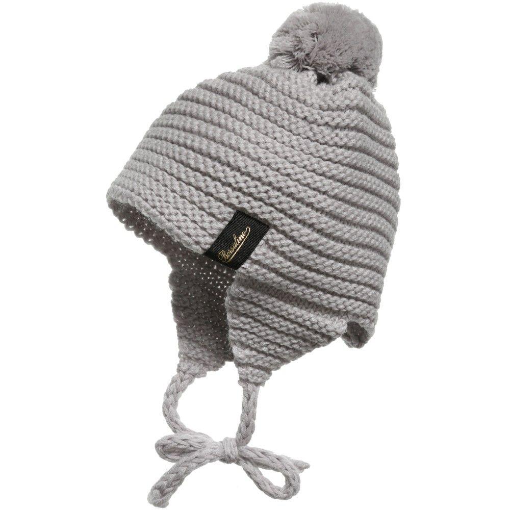Borsalino - Grey Wool Knitted Ear Flap Hat with Pom-Pom ... ebd53410597