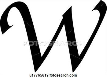 Letter W Clip Art  Alphabet Block Calligraphy Capital Chisel