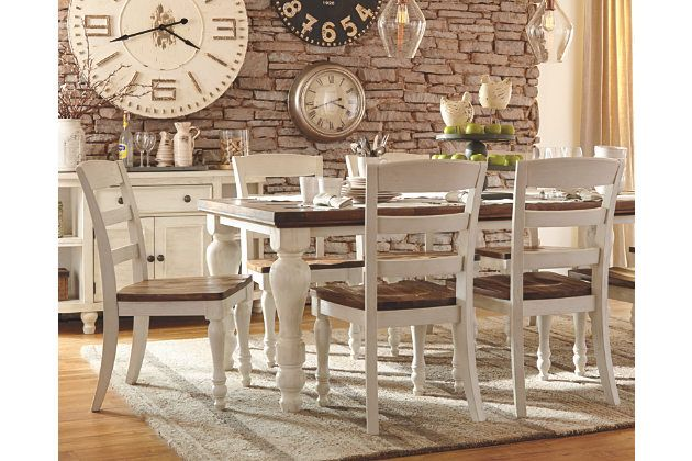 marsilona 5 piece dining set by ashley homestore two tone