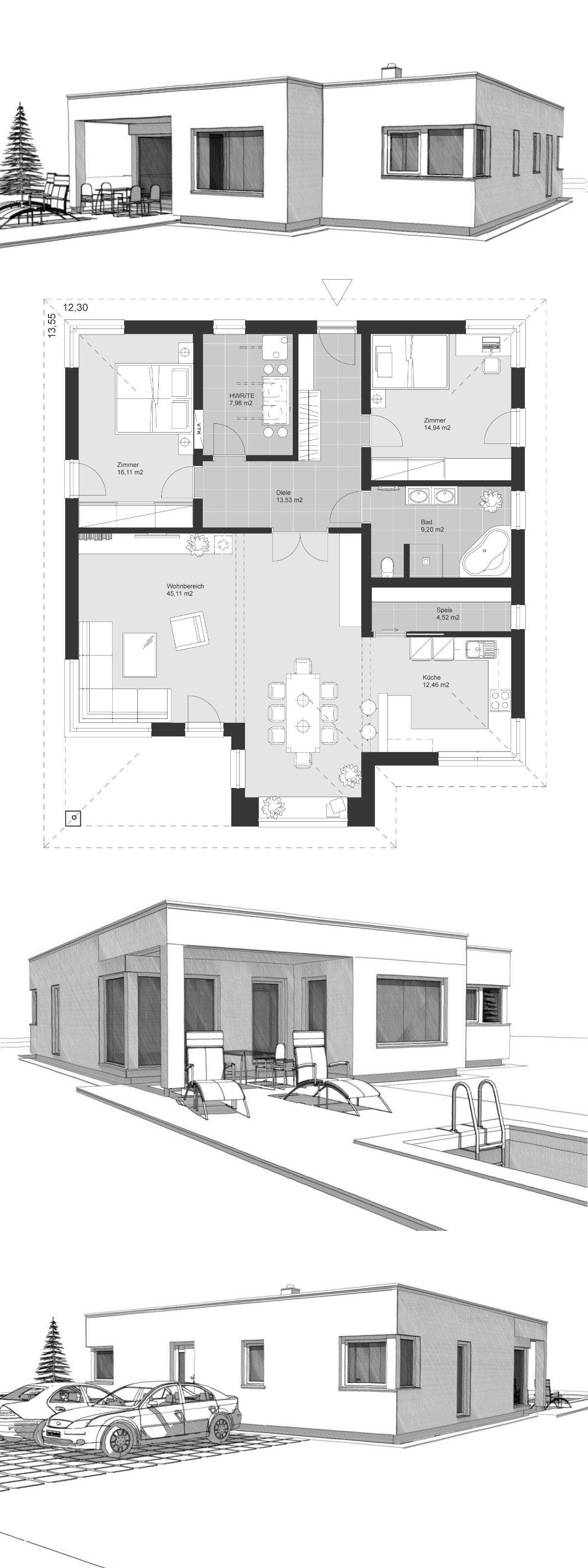 Bauhaus Bungalow Modern Grundriss Ebenerdig Mit Flachdach Terrasse Mit Pool Einfamilienhaus Bauen Id Architektur Zeichnungen Architektur Moderne Grundrisse
