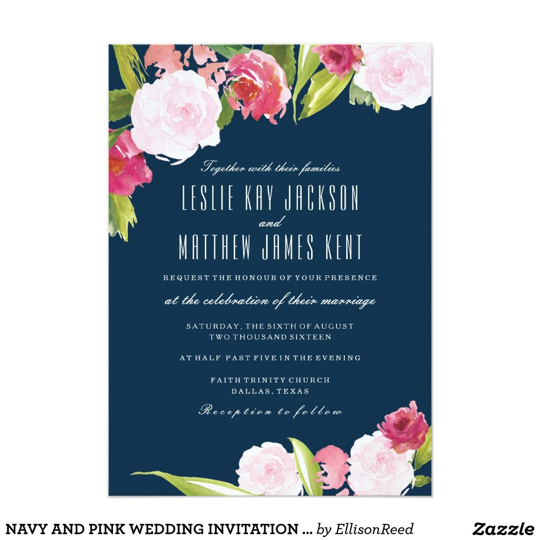 Navy And Pink Wedding Invitation With Flowers Pink Wedding