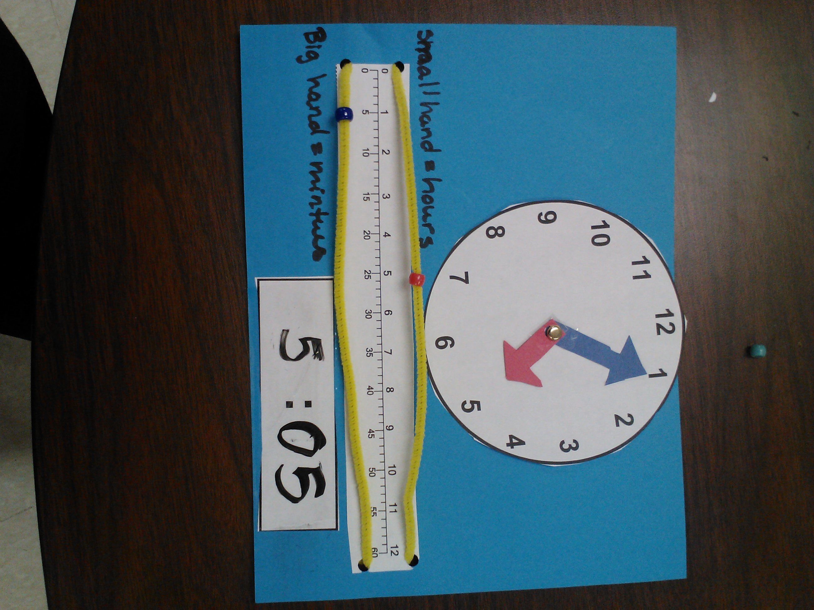 Great idea for teaching time using a number line and wrapping it ...