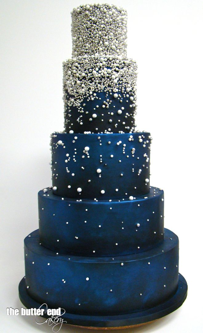 Grand Blue Wedding Cake With Silver Dragees And Sugar Pearls By The