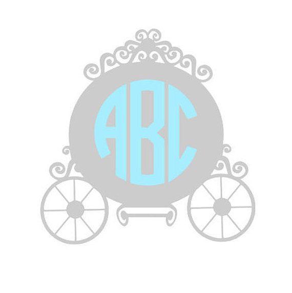Princess Carriage Glossy Vinyl Monogram Custom Colors Indoor - Disney custom vinyl decals for car