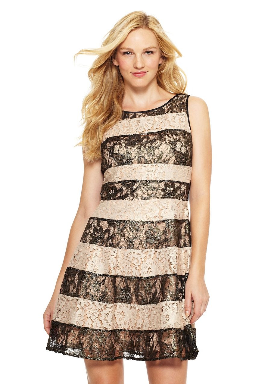 Boat Neck Lace Striped Dress Sleeveless dress; Boat neck; Features lace overlay with striped design; Hidden back zipper with hook-and-eye closure; Fully lined DressWomen #Dresses