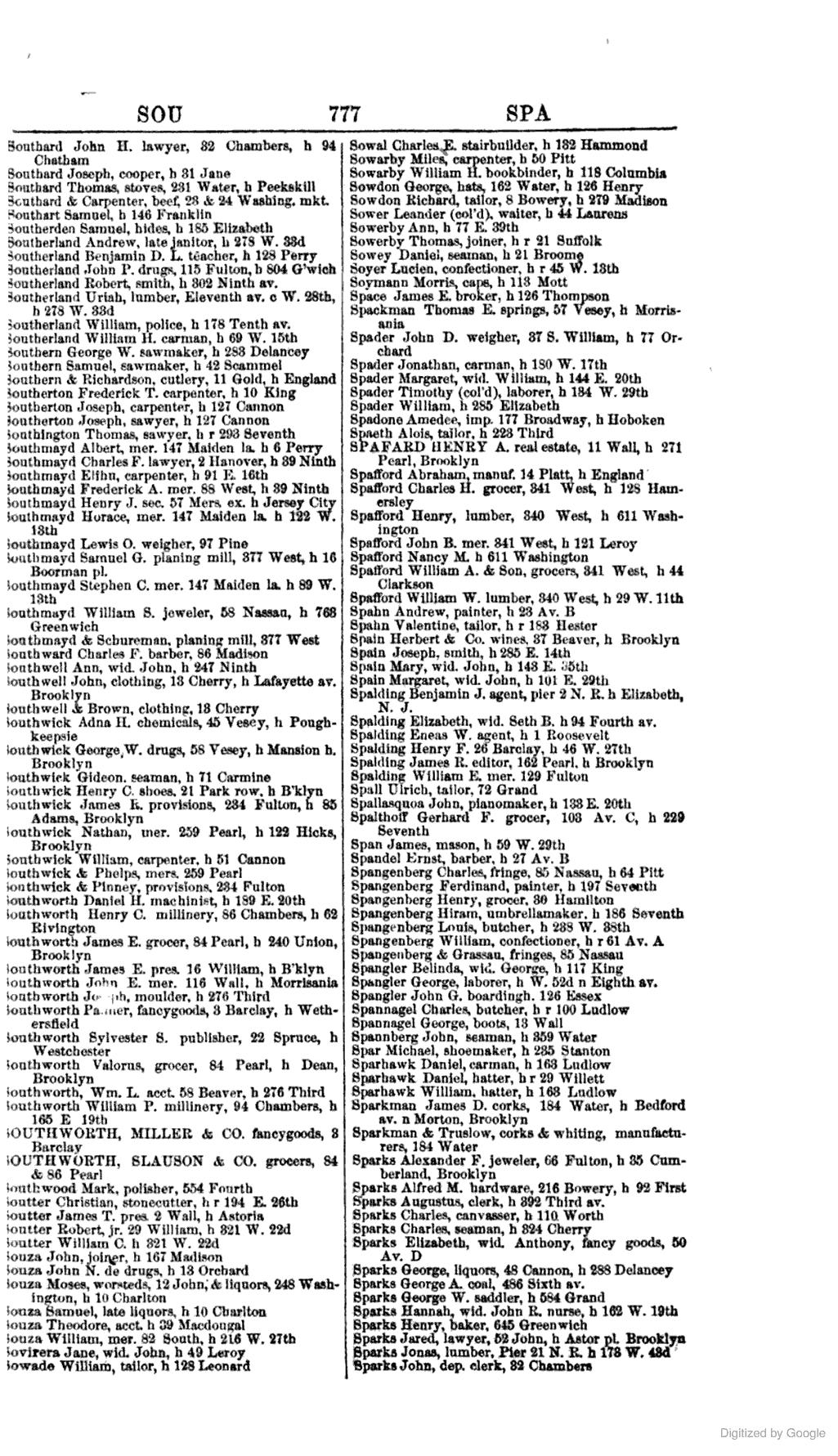 [1858] SPADONE, Amedee. IMPORTER, 177 Broadway, h
