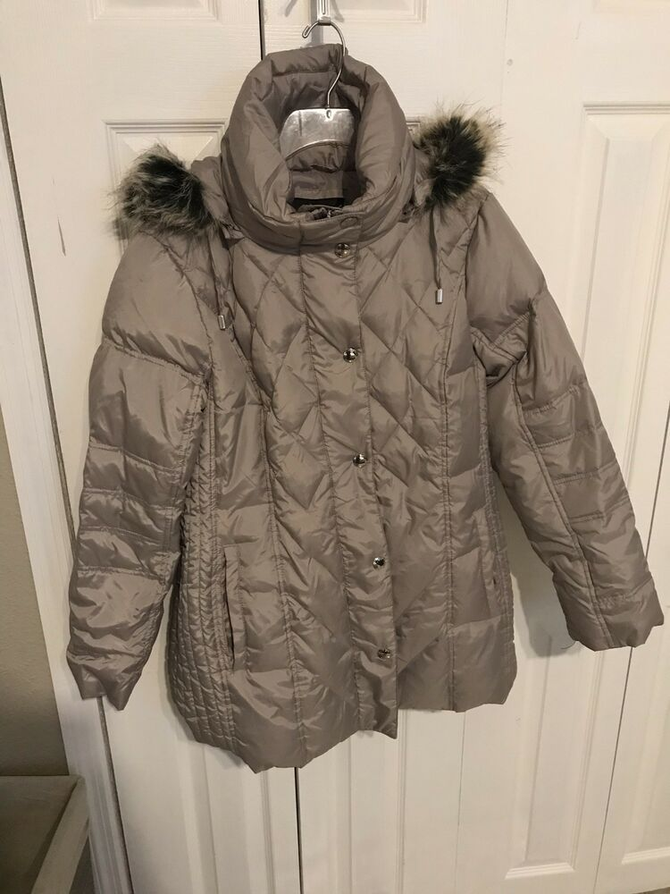 842dcd2b9bb4 London Fog Diamond Quilted Down Filled Coat Large Solid Light Gray ...