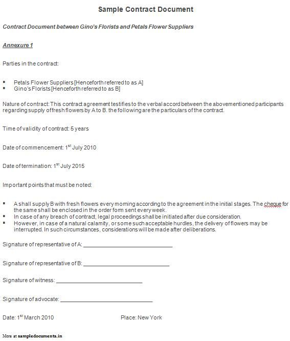 Sample Contract Document  Contract Documents
