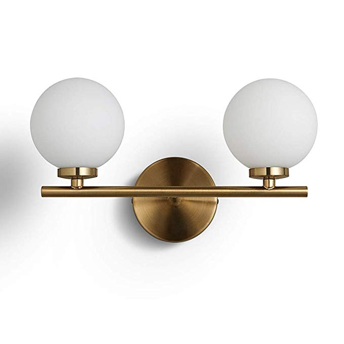 Bokt Mid Century Modern Wall Sconce Gold With Glass Globe Double Lights Wall Lamp For Bathroom Bedroo Brass Wall Lamp Modern Wall Lamp Modern Sconce Lighting