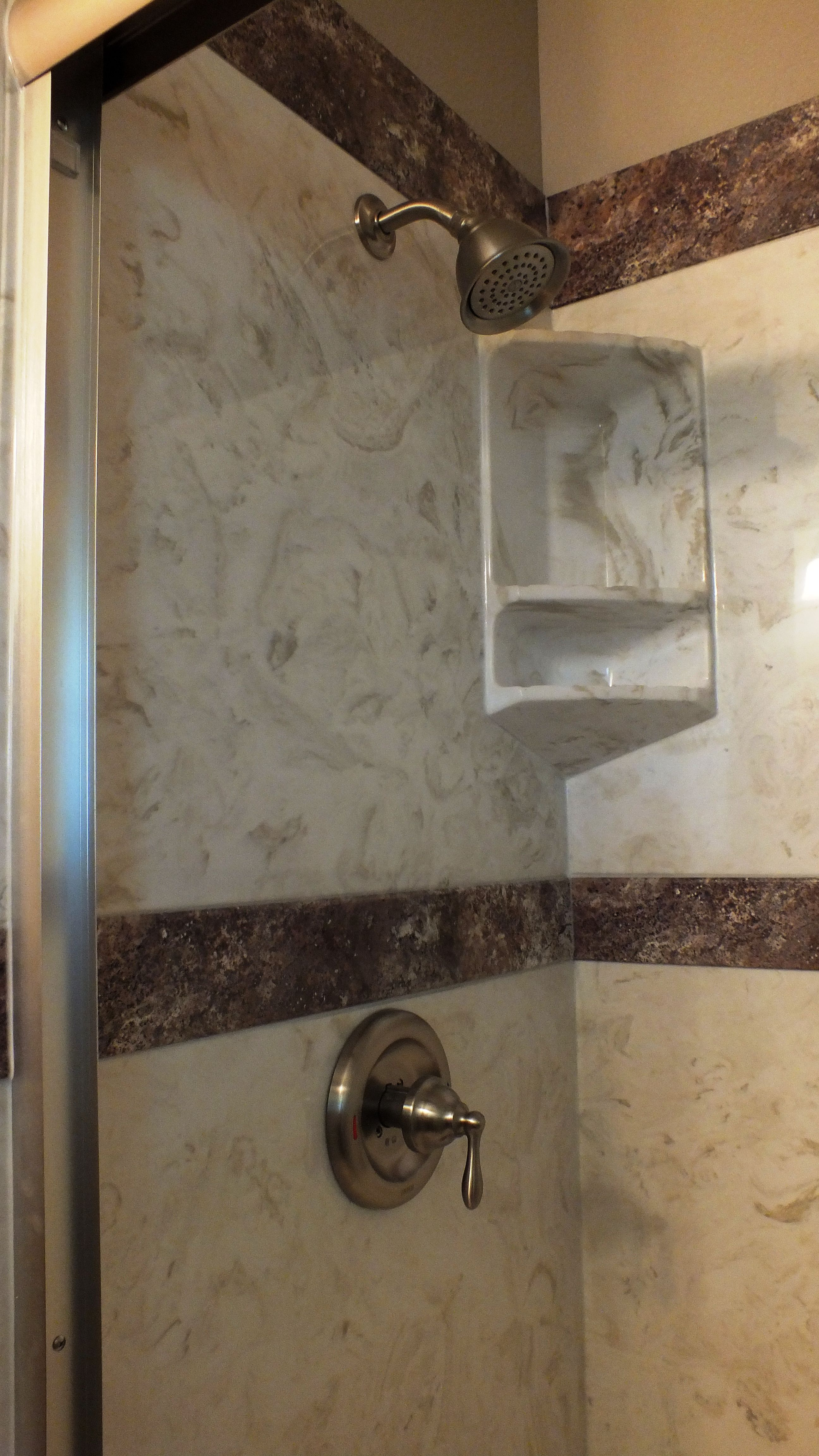 Cultured Marble Tub to Shower Conversion Burnt Almond Wall