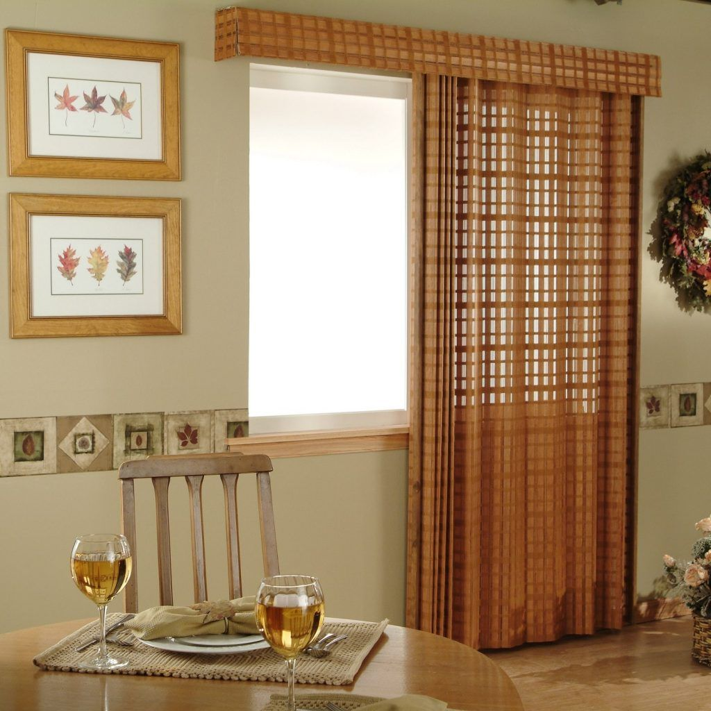 Wooden vertical blinds for sliding glass doors