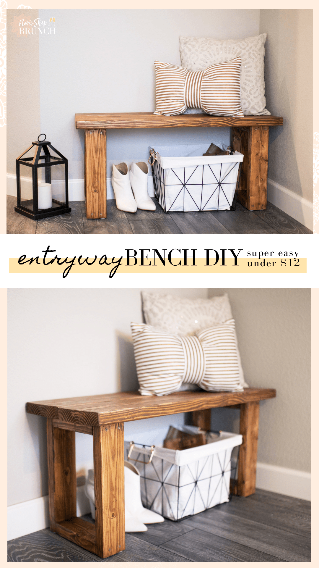 Make This Gorgeous Diy Entryway Bench For Under 12 Never Skip