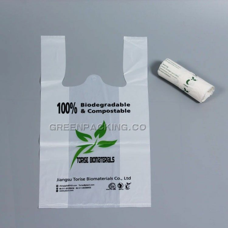 Compostable biodegradable T shirt PLA shopping bags, View