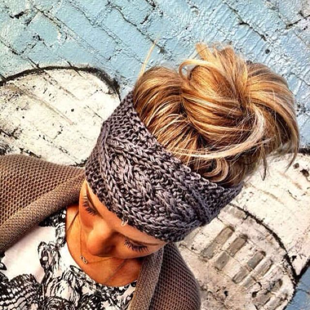 Headband or hair band with messy updo or bun. This knit ...