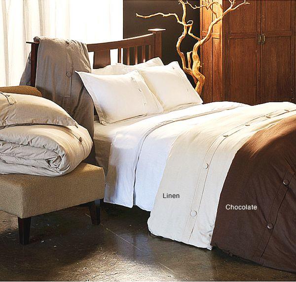 Modern Cotton Slubbed Chocolate Brown Duvet Cover Set