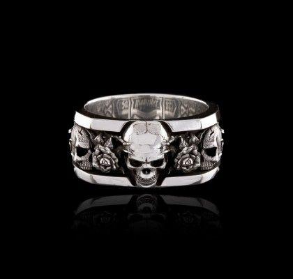 Roses Band Skull Wedding Ring Sterling Silver Skull Rings Skull Engagement Ring