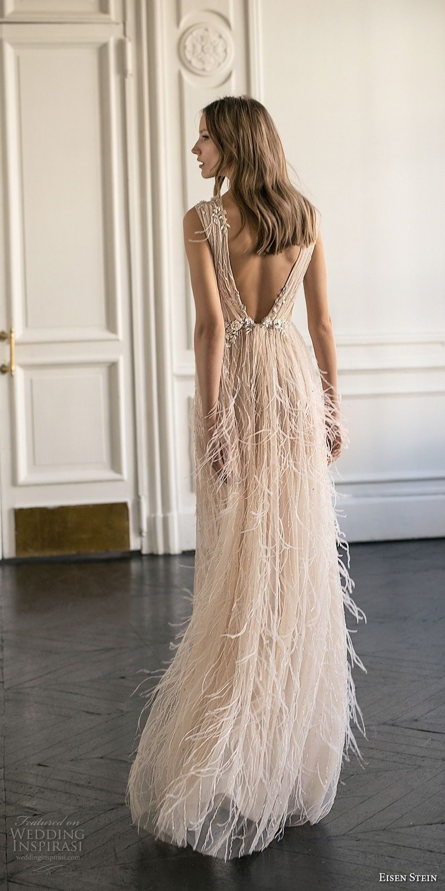 eisen stein 2018 bridal sleeveless deep v neck full embellishment high slit fringe skirt romantic soft a line wedding dress sweep train (11) bv -- Eisen Stein 2018 Wedding Dress #beautydresses