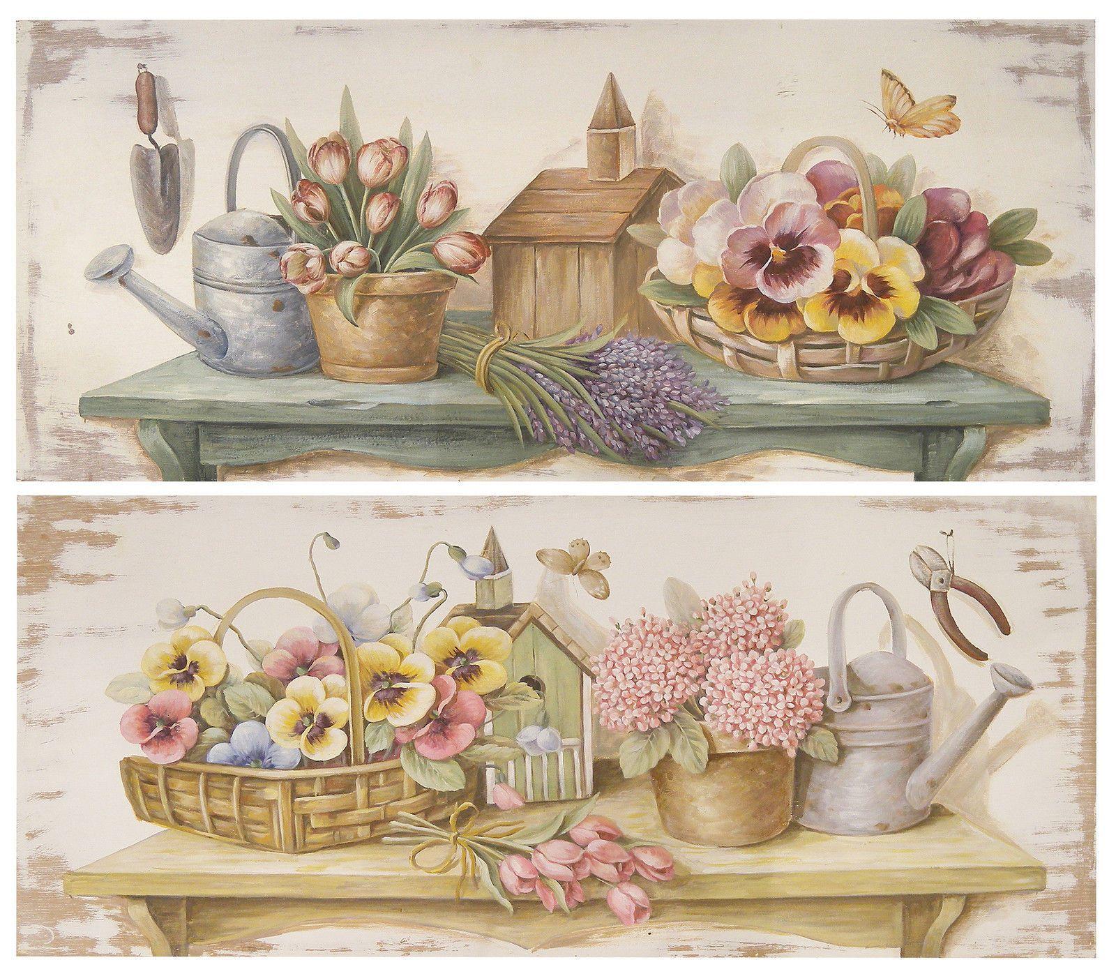 Lorenzon set 2 quadri in legno floreale fiori fiore quadro country 90x40 fr 0173 - Quadri cucina vintage ...