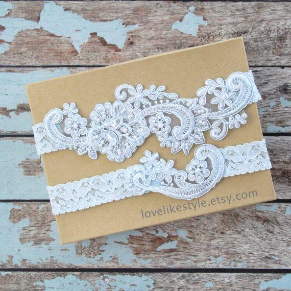 edcff379f Light Blue Pearl Beaded Lace Wedding Garter Set