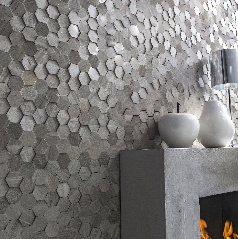 Plaquette de parement pierre naturelle cr me hexagone cottage homedecor plaquettedeparement mur - Idee revetement mural ...