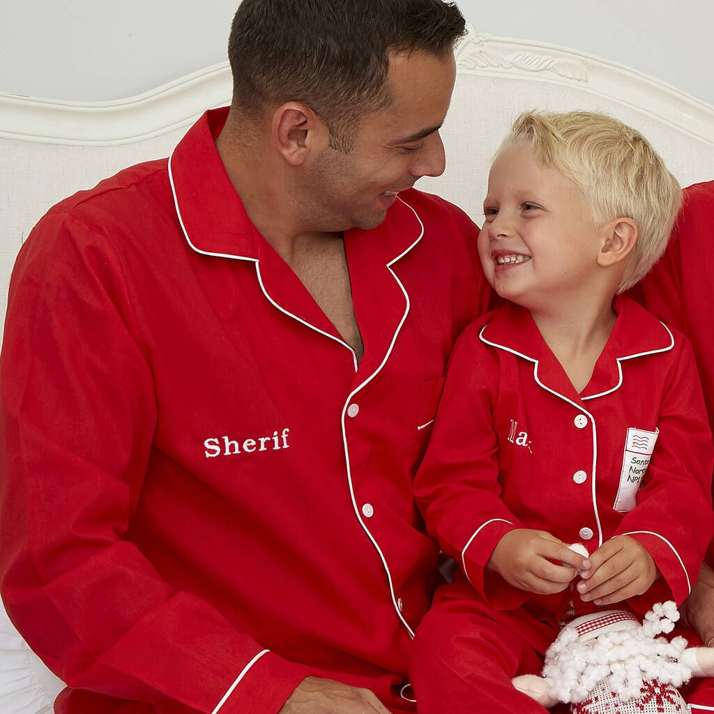 Men's Personalised Red Cotton Christmas Pyjamas in 2020