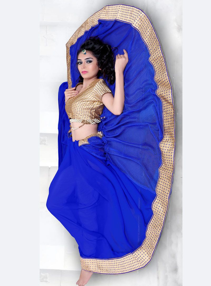 Saree blouse design sleeve royal blue georgette saree with blouse   georgette saree with