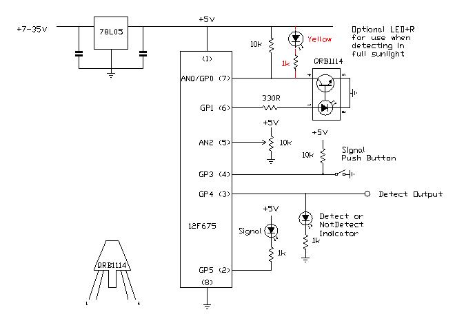chopped infrared block detector (model train detector) electronics
