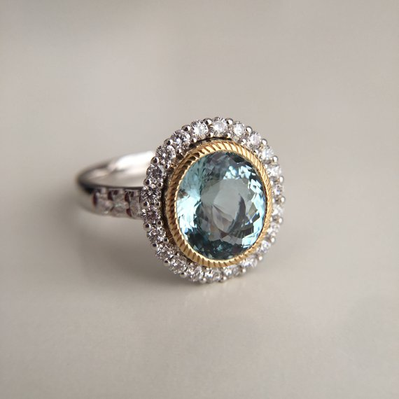 3 Carat Aquamarine Engagement Ring Blue Stone Ring White Gold Ring Diamond  Ring Oval Aquamarine Ring b95f75b6c40db