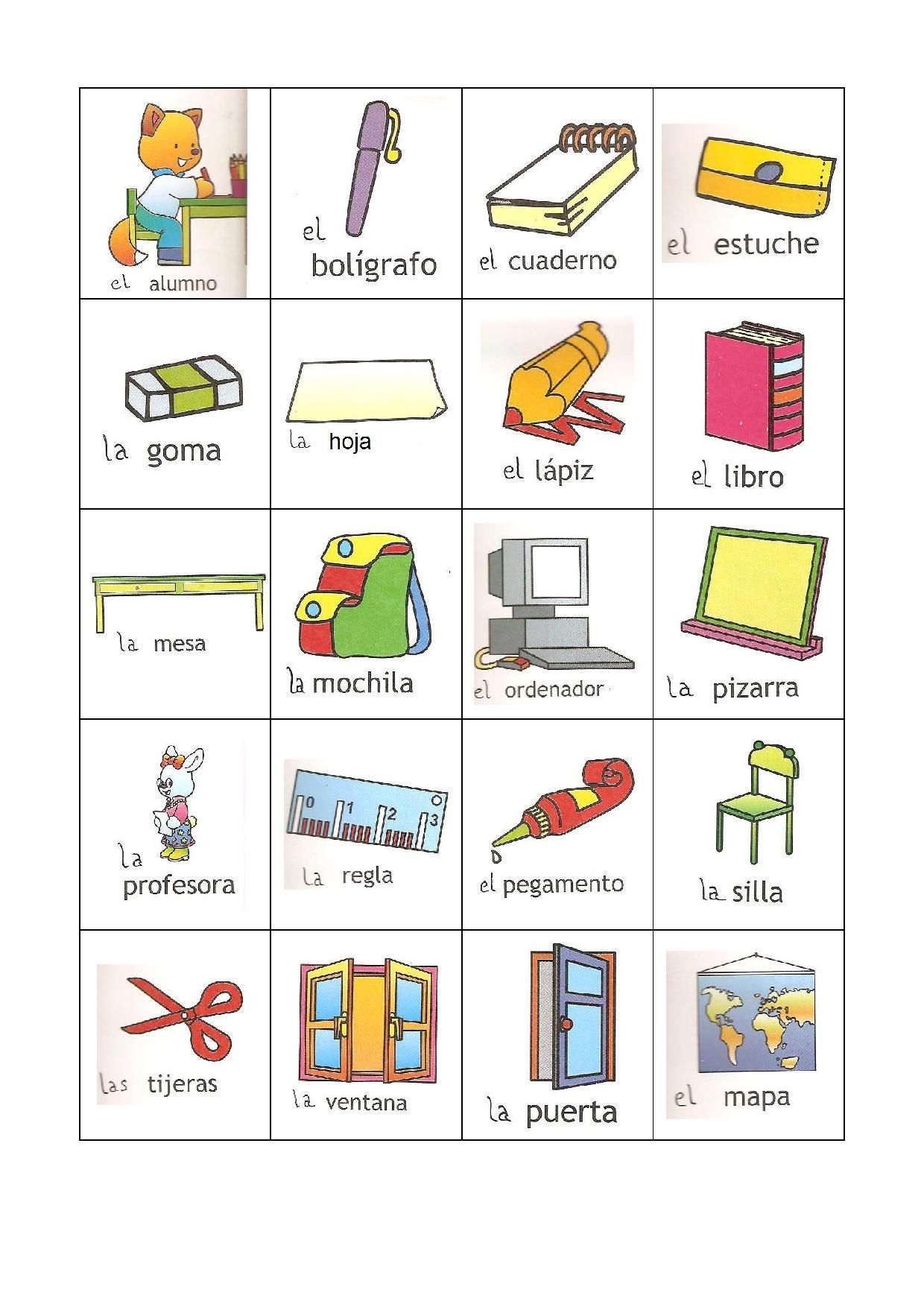 Pictionnary Objetos En El Aula De Clase Ficha Para