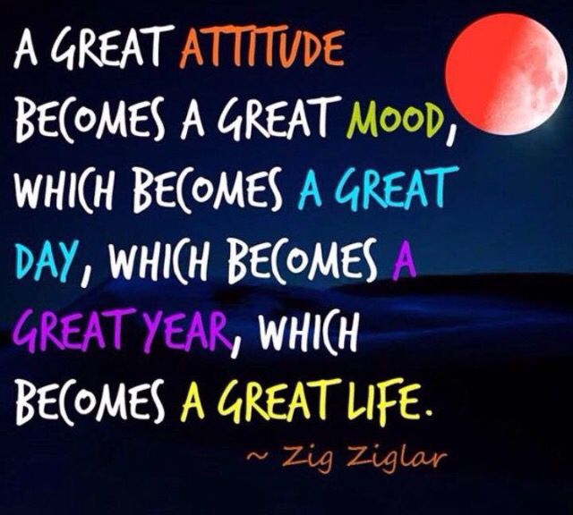 Great Attitude Quote: A Great Attitude Becomes A Great Mood, Which Becomes A