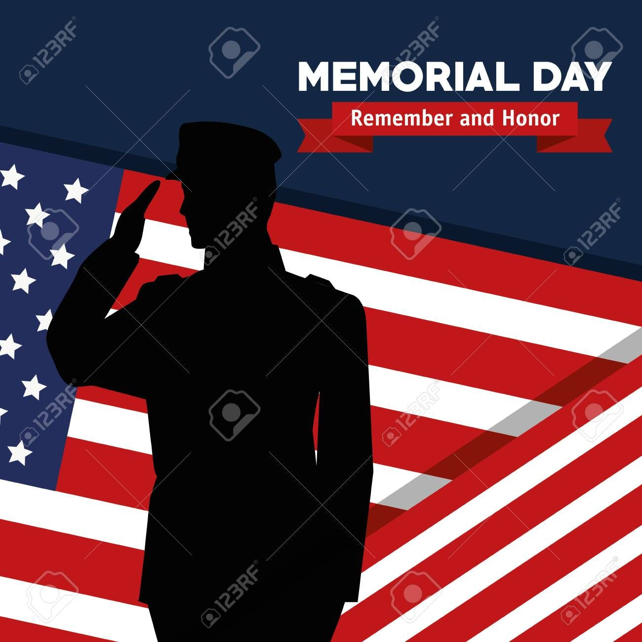 Soldier With Usa Flag To Celebrate Remember And Honor Vector Illustration Spon Flag Celebrate Motion Graphics Animation Vector Illustration Memorial Day