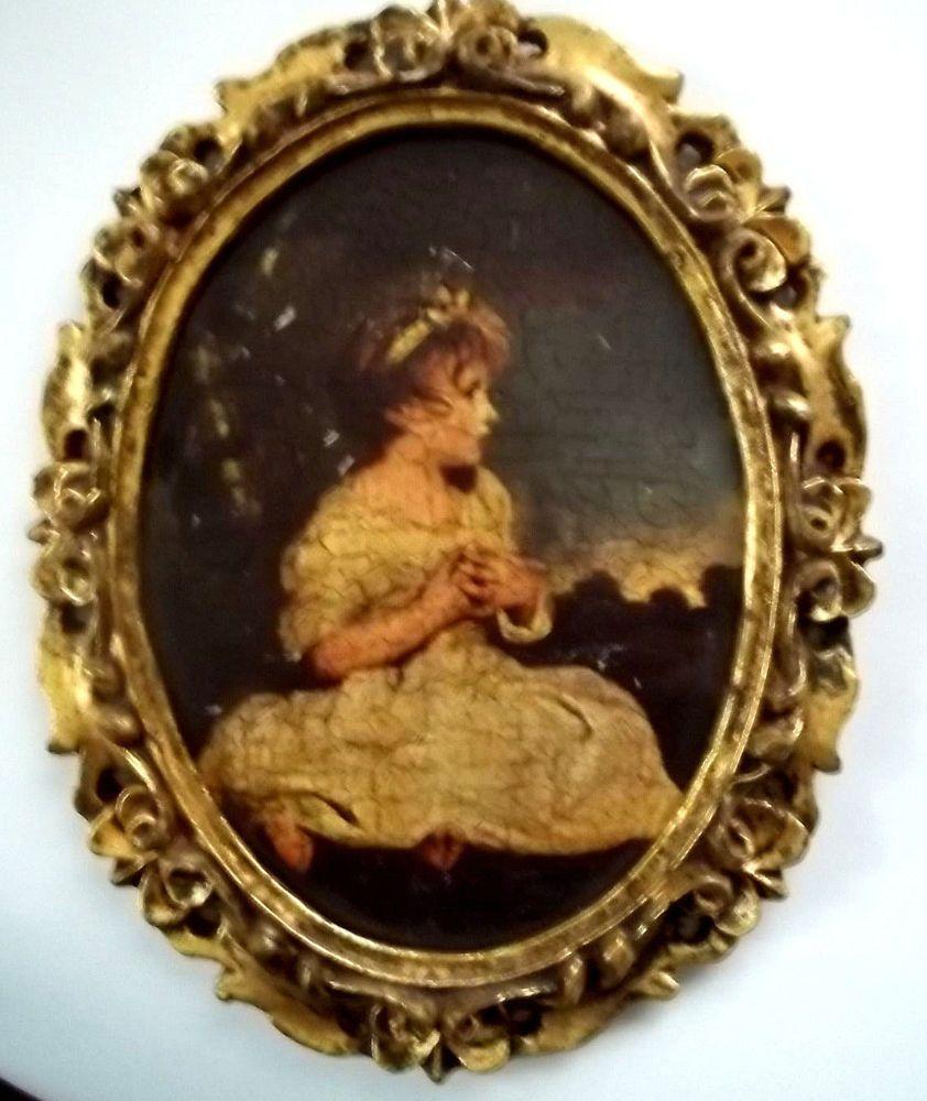 Vintage oval florentine gilt wood ornate picture frame with little vintage oval florentine gilt wood ornate picture frame with little girl print jeuxipadfo Images