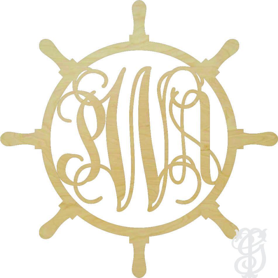 Ships Wheel Wood Wall Monogram - UNFINISHED   MONOGRAM ME ...
